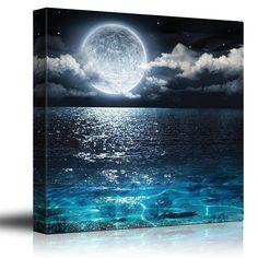 Full Moon Illuminating the Clear Ocean Blue Wall Art Framed