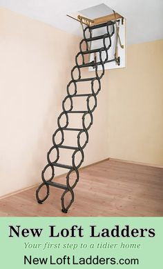 Our concertina loft ladder can fit into the smallest of spaces. When the loft hatch is closed the ladder is stored on the top of the hatch and doesn't require any swing space or clearances in the loft space. It is ideal for situations where the hatch is adjacent to a wall or obstructions in the loft that would otherwise prevent a folding loft ladder or slide loft ladder from being operated. Loft Ladder and Installation: £575