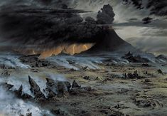 Ted Nasmith Painting  - Across Gorgoroth, where it is always night