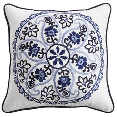 Not sure if it goes with my colour scheme but I've found it striking since first look  Pier 1 Embroidered Medallion Pillow - Indigo