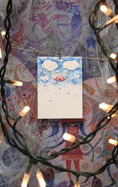 Winter Card, Christmas Card, Birds Illustration, Handmade Greeting Card, Birds on a swing of stars by Alaalina on Etsy