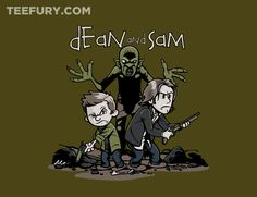 Dean and Sam by davidj8580 - Shirt sold on May 17th at http://teefury.com - More by the artist at https://www.facebook.com/DavidJIllustrationDesign
