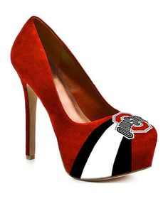 Take a look at this Red & Black Ohio State Buckeyes Suede Pump - Women by HERSTAR on #zulily today!