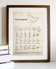 Hummingbird Origami A3 Poster Print