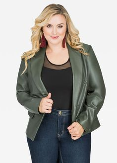 Plus Size Blazer - Faux Leather Double Breast Blazer Curvy Fashion, Plus Size Fashion, Blazer Jacket, Leather Jacket, Plus Size Blazer, Work Casual, Jacket Style, Outerwear Jackets, Double Breasted