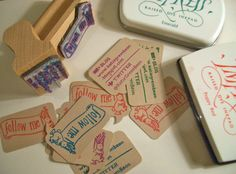 """Handstamped """"Follow Me"""" Cards made using Kraft Blurb Tags by Scrap Bits."""