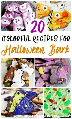 If you are looking for some great Halloween bark recipes to enjoy this holiday, you are in luck. We have taken the liberty of finding you the most fun, colorful and delicious recipes to try! Best Halloween Candy, Halloween Bark, Halloween Food For Party, Kids Birthday Snacks, Kids Party Snacks, Disney Cupcakes, Disney Cookies, Halloween Crafts For Toddlers, Halloween Kids