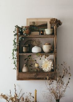 An Autumn Shelf. Our rustic handmade pallet shelf with a gathering of seasonal inspiration from this perfect time of year, fading treasures from nature, a few selected pieces and the gentle warming glow of a candle to lift the mood. Decoration Bedroom, Interior Decorating, Interior Design, Interior Ideas, Pallet Shelves, Aesthetic Room Decor, Diy Décoration, My Room, House Design