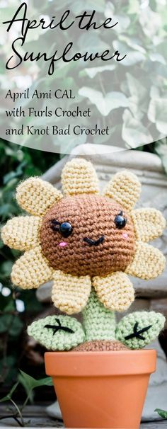 Join Furls Crochet and I for a Crochet Along this month! The free pattern for April the Sunflower will be available each week of this month in separate parts ; free amigurumi crochet pattern