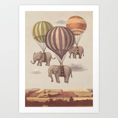 Flight of the Elephants Art Print by Terry Fan - $19.00