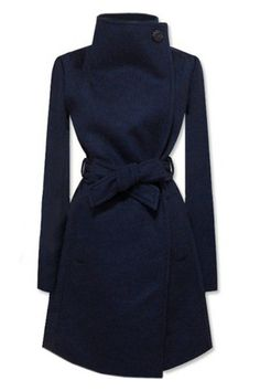 New Style Lapel Dark Blue Coat by Romwe