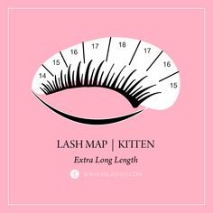 ( ・・・ Here's the highly requested kitten lash map in standard lengths! 😻😻😻 Perfect for downturned or droopy eyes since it really opens the eye but also gives that feline flick! Best Lash Extensions, Eyelash Extensions Styles, Perfect Eyelashes, Best Lashes, Kitten Eyes, Eyelash Extension Supplies, Lash Quotes, Droopy Eyes, Lash Room