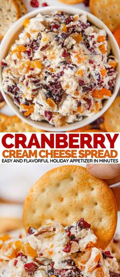 Cranberry Cream Cheese Spread is an easy flavorful holiday appetizer with c Cranberry Cream Cheese Spread is an easy flavorful holiday appetizer with cream cheese cranberries apricots and orange zest Appetizer Dips, Appetizers For Party, Appetizer Recipes, Appetizers With Cream Cheese, Easy Holiday Appetizers, Cream Cheese Recipes Dinner, Dinner Party Appetizers, Dinner Dessert, Fruit Dessert