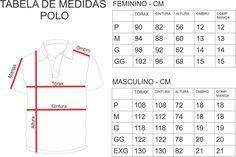 Tabela de medidas Polo