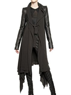 Gareth Pugh Leather Sleeves Silk Chiffon Coat