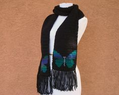 MADE TO ORDER Butterfly Scarf, Black Scarf With Peacock Colored Butterflies, Royal Blue, Green, Teal, Cobalt Butterfly Scarf for Women by HoookedHandmade