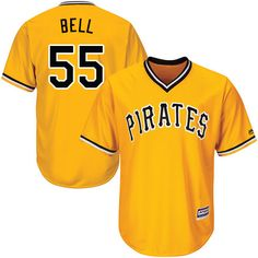 pirates 55 josh bell gold new cool base stitched mlb jersey