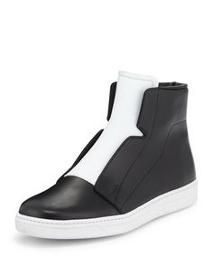 Laceless Leather High-Top Sneaker, Black/White by Prada at Neiman Marcus.