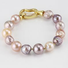 Beautiful quality white gold plated 12mm Kasumi pearl bracelet