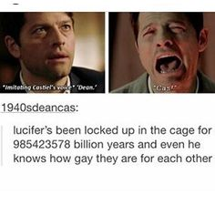Luci needs to work on his deep cover skills. It only took a few meetings for Sam to figure out it wasn't Cas. Luci needs to work on his deep cover skills. It only took a few meetings for Sam to figure out it wasn't Cas. Supernatural Destiel, Castiel, Supernatural Funny Moments, Supernatural Bloopers, Supernatural Tattoo, Supernatural Imagines, Supernatural Wallpaper, Misha Collins, Jensen Ackles