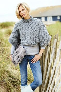Big, Bold Aran Patterned Chunky Knit Tee in Stylecraft Life Chunky - Digital Version