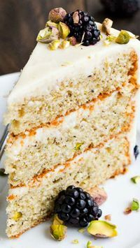 3-Layer Pistachio Cake ~ delightful made-from-scratch 3-layer cake covered in silky smooth cream cheese frosting.