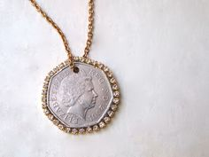 DIY Coin N Rhinestone Pendant Necklace