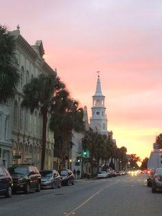 Broad Street sunset in Charleston, SC