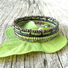 Beaded bracelet stack lime green & brown stacking memory