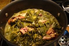 Best collard greens EVER! I substituted the turkey with ham hocks, and the water with chicken broth, and they were amazing!!