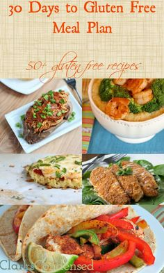 30 Day Gluten Free Meal Plan, with 50 great gluten free recipes - just discovered Liam has a gluten sensitivity so here we go!