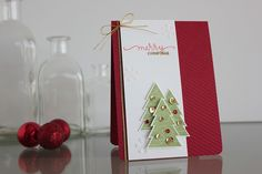 Red and gold Christmas card created by  Amanda Korotkova using the November 2014 card kit by Simon Says Stamp