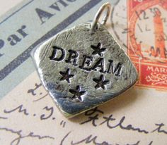 Pewter Hand Stamped Pendant  DREAM Silver Black by meiguidesigns