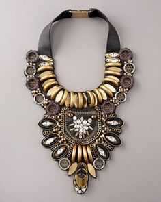 Necklace | Ranjana Khan. 'Gilded Horn @ Deco Threadwork'. | http://www.ranjanakhan.com/