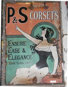 Victorian tin corset advertisement