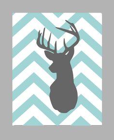 Deer Silhouette with Chevron Zig Zag Stripes  One by karimachal, $24.00