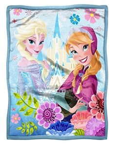 Disney Frozen Floral Fjord Anna  Elsa HD High Definition Mink Sherpa Throw *** To view further for this item, visit the image link.