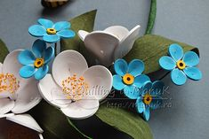 Quilled Jasmines and Forget Me Not Flowers in a Heart - Detail