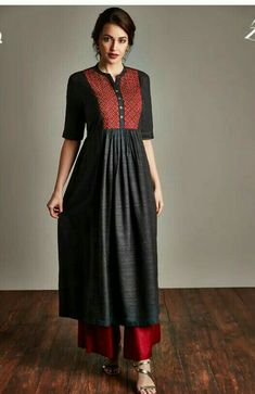 Fresh Look Fashion - Online Indian Fashion Store for Women Clothes Simple Kurti Designs, Kurta Designs Women, Kurta Patterns, Dress Patterns, Dress Neck Designs, Blouse Designs, Indian Designer Outfits, Designer Dresses, Indian Dresses