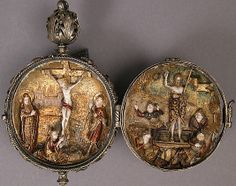 Rosary Bead with the Crucifixion and Resurrection, Germany ca 1500-1525.  Ivory, polychromy, silver-gilt mount