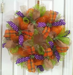 Fall wreath with mesh and burlap ribbon