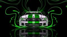 Monster-Energy-Ford-Mustang-GT-Green-Neon-Plastic-Car-2014-design-by-Tony-Kokhan-[www.el-tony.com]