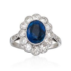 Love.. Saphires and diamonds are a girls best friend C. 1990 Vintage 2.50 Carat Sapphire and 1.30 ct. t.w. Diamond Ring in 18kt White Gold. Size 6.75