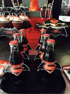 Batman vs Superman birthday party drinks! See more party ideas at CatchMyParty.com!