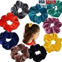 Silk Scrunchies Ponytail Holder Elastic Ties Hair Band White Polka Sky Blue 049