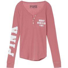 PINK Thermal Sleep Henley ($14) ❤ liked on Polyvore featuring intimates, sleepwear, pajamas and purple