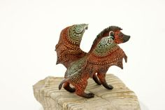 Winged Dragon Hyena Warg Figurine Fantasy Skulpture Guardian Spirit Amulet Shamanic Native Africa animals
