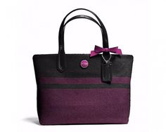 chicmarket.com - Coach Signature Stripe Wool Tote - Charcoal/Passion Berry