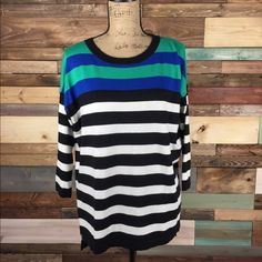 Oversized Multistripe Sweater - Chaus NY - Medium Oversized Multistripe Sweater - Chaus NY - Medium  Cozy and chic, pair with Skinnies or leggings.    #szmedium #oversized #chaus #chausny #nordstrom #supersoft #cozy #stripes #black #white #green #popofcolor #stylish #casualchic #woodsnap Chaus Sweaters Crew & Scoop Necks