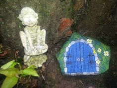 Painted rock door of elfs garden design
